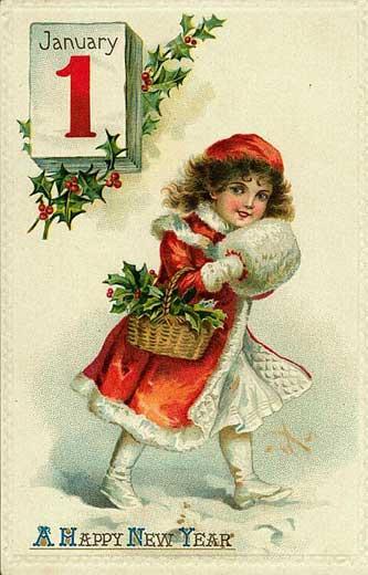 Винтажные открытки к новому году и